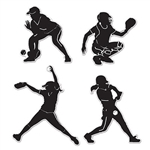 Softball Players Silhouettes Cutouts
