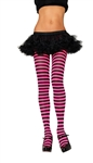 Nylon Striped Tights - Black and Pink
