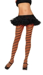 Nylon Striped Tights - Black and Orange