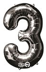 "Silver ""3"" Shaped Mylar Balloon"