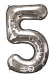 "Silver ""5"" Shaped Mylar Balloon"