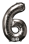 "Silver ""6"" Shaped Mylar Balloon"