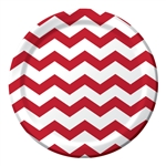 Red Chevron 9 inch Dinner Plates