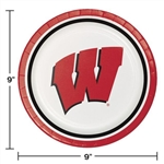 Badgers 9 in. Dinner Plates