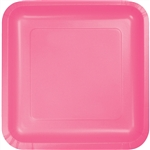Candy Pink 7 inch Square Paper Plates