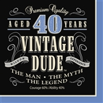 Vintage Dude 40th Luncheon Napkins