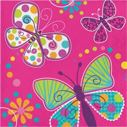 BUTTERFLY SPARKLE LUNCHEON NAPKINS
