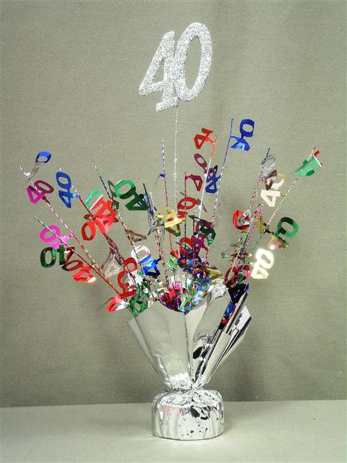 40 silver multi color spray centerpiece bartz 39 s party stores for 40 birthday decoration ideas