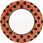 Orange & Black Polka Dots Dinner Plates