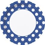 Royal Blue Polka Dots 9in Plates