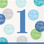 Blue Dots First Birthday Luncheon Napkins