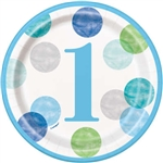 Blue Dots First Birthday 7 Inch Plates