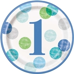 Blue Dots First Birthday 9 Inch Plates