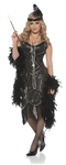 Gatsby Girl Black Beaded Flapper Costume - Adult Large