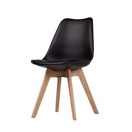 Charles Jacob Style Side Chair with Solid Oak Legs in Black