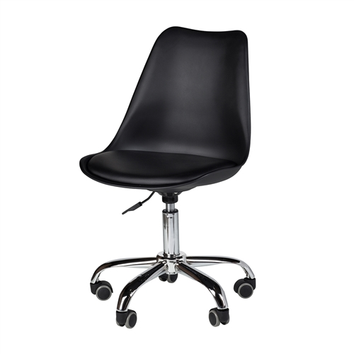 Charles Jacob Style Office Chair with Solid Oak Legs in Black