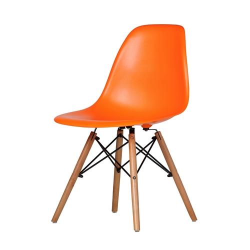 Charles Eames DSW Side Chair Mid Century Modern, Orange Plastic ...