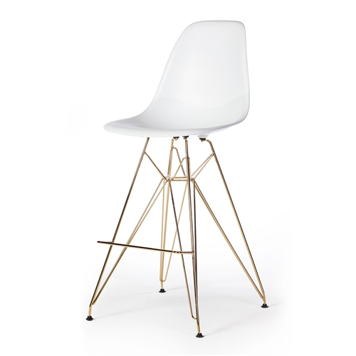 Molded Acrylic Counter Stool in White and Gold Finish Legs