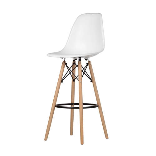 Charles Eames Style DSW Bar Stool - White