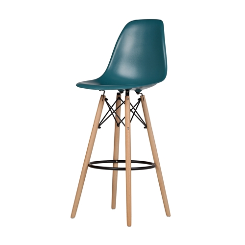 Charles Eames Style DSW Bar Stool - Teal Blue