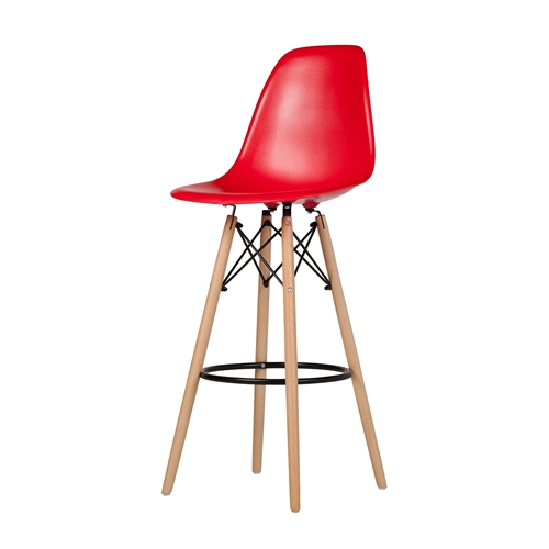 Charles Eames Style DSW Bar Stool - Red
