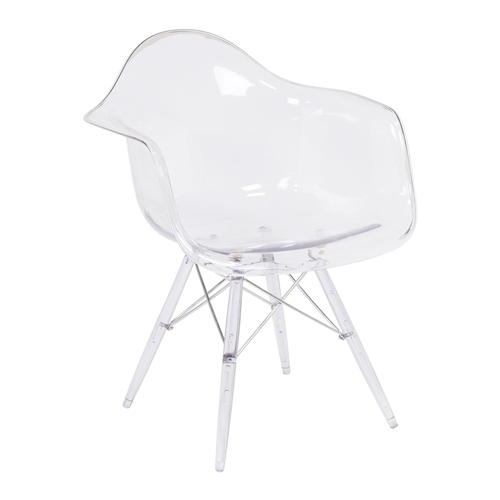 Charles Eames DAW Style Arm Chair - Clear Seat and Legs