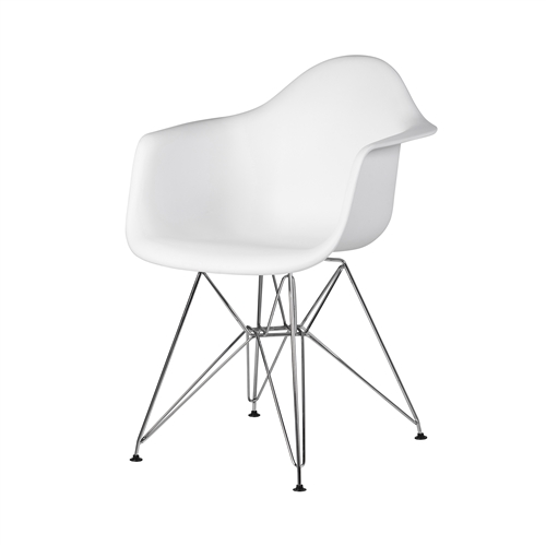 Charles Eames Style DAR Arm Chair, White ABS Plastic