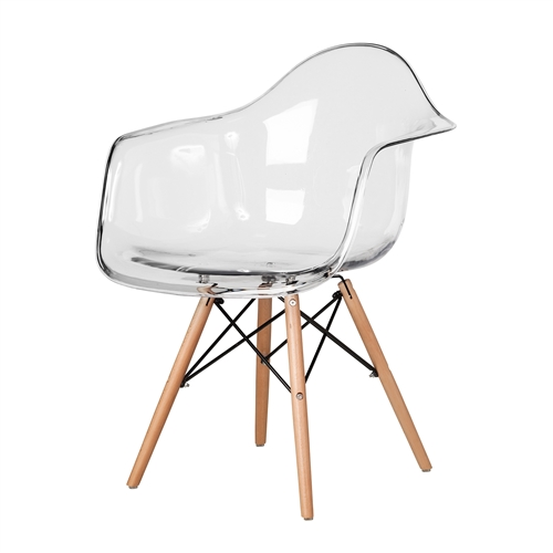 Charles Eames Style DAW Arm Chair, Clear ABS Plastic
