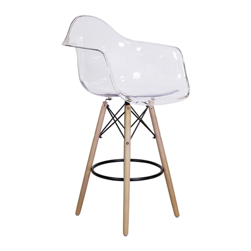 Charles Eames Style DAW Counter Stool, Clear ABS Plastic
