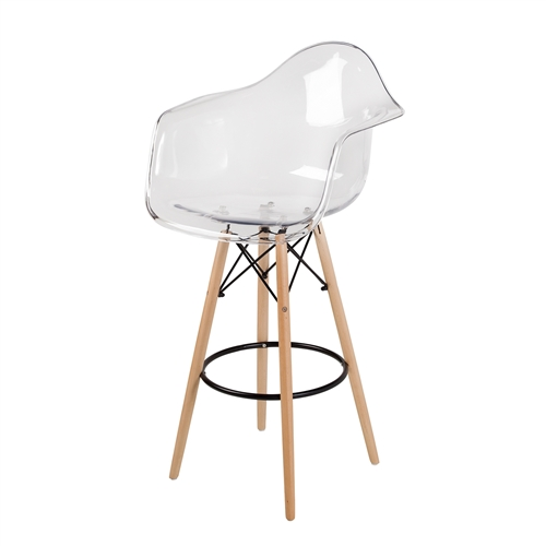 Charles Eames Style DAW Bar Stool, Clear ABS Plastic