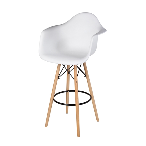 Charles Eames Style DAW Bar Stool, White Molded Plastic