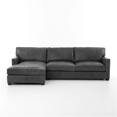 "Carnegie Larkin 88"" Sectional Old Saddle Black"