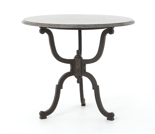 Four Hands Hughes Round Bluestone Iron Bistro Pedestal Table