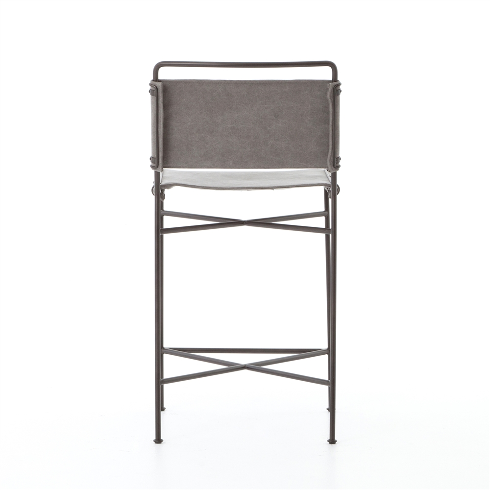 Irondale Wharton Counterstool In Stonewash Grey Canvas