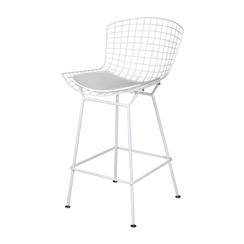 Bertoia Style Counter Stool in White