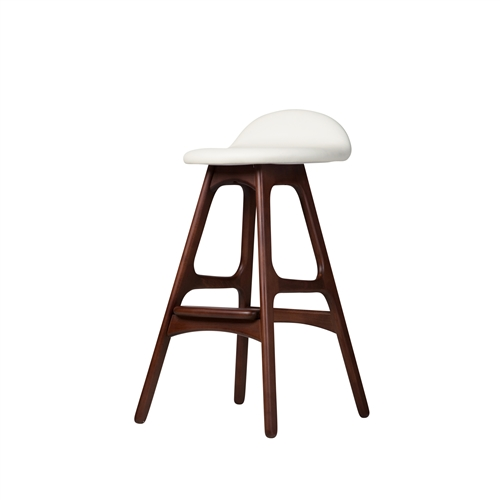 Erik Buch OD Mobler Teak Inspired Counter Stool with White Leather