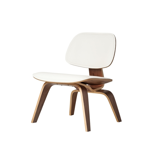 Charles Eames Style Molded Plywood Lounge Chair White Leather
