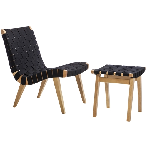Risom Inspired Lounge Chair and Ottoman Black