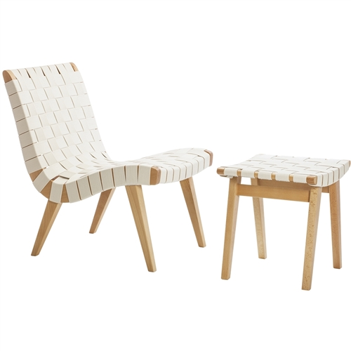 Risom Inspired Lounge Chair and Ottoman in White