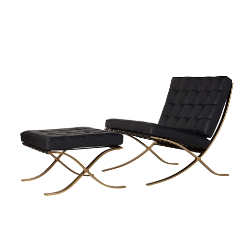 Barcelona Chair & Ottoman, Black Leather & Champagne Gold