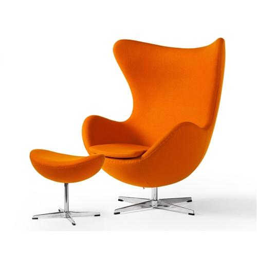 Arne Jacobsen Inspired Egg Swivel Chair In Cashmere Orange With Tilt Function