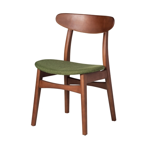 Wegner Style Buhl Side Chair in Green