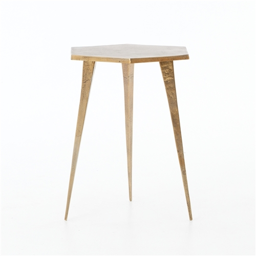 Marlow Hex End Table in Raw Brass