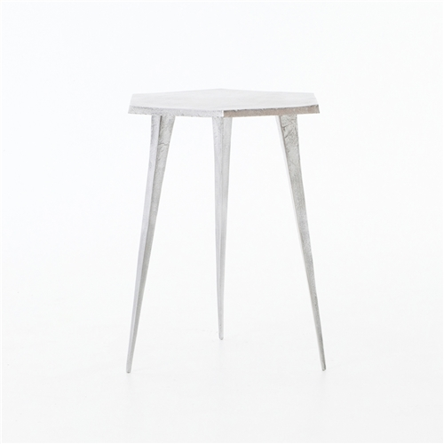 Marlow Hex End Table in Raw Zinc