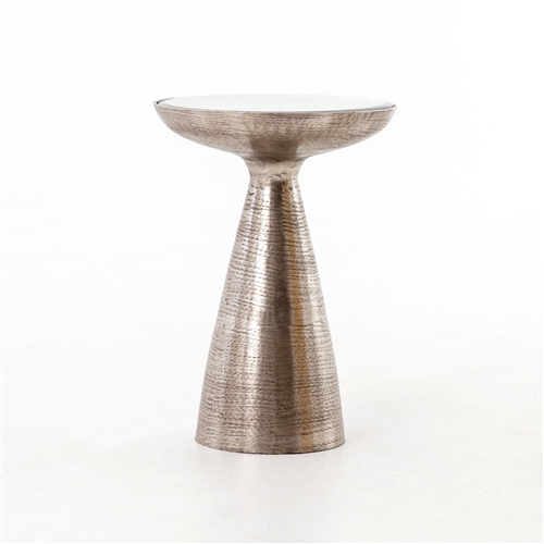 Marlow Mod Pedestal Table in Brushed Nickel