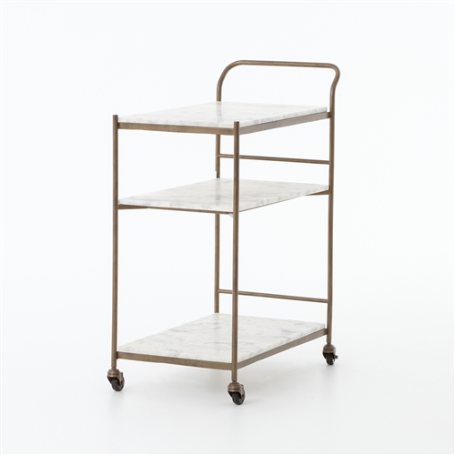 Felix Bar Cart in Antique Brass