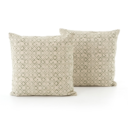Faded Green Print Large Pillow, Set of 2