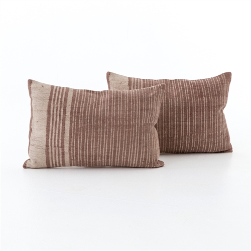 Rust Stripe Bolster Pillow, Set of 2