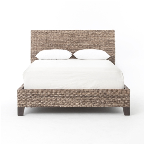 Grassroots Lanai Banana Leaf Queen Bed-Grey Wash
