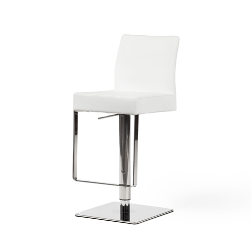 Hydraulic Adjustable Counter Stool, White Leather